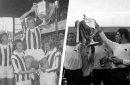 Derby County's claim to the Watney Cup as it arrives at Stoke City