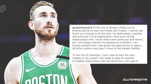 Gordon Hayward's parting message to Celtics as he leaves for Hornets