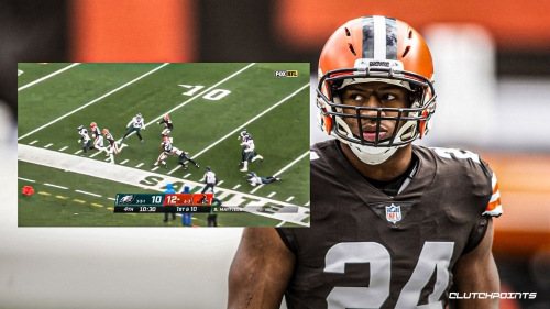 Browns' Nick Chubb uncorks electric, powerful 54-yard run to set up crucial TD vs. Eagles
