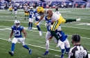 Aaron Rodgers and the Packers get shut down after halftime in a 34-31 overtime loss to the Colts