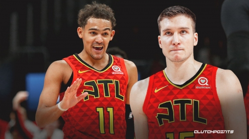 Trae Young reacts to Bogdan Bogdanovic joining him on Hawks