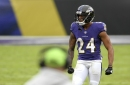 Ravens CB Marcus Peters returns to practice Wednesday; CB Marlon Humphrey, eight others sidelined