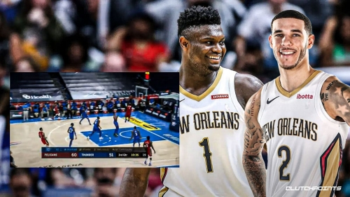 Pelicans' Lonzo Ball links up with Zion Williamson for halfcourt alley-oop