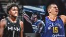 VIDEO: Timberwolves rookie Anthony Edwards hits head on backboard for poster dunk on Nikola Jokic