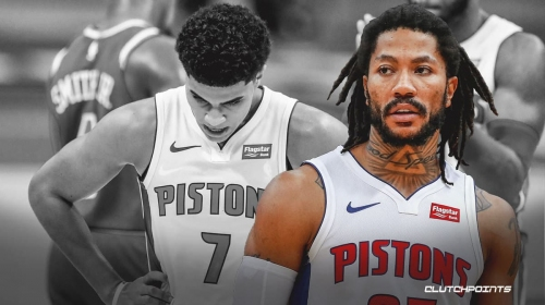Pistons guard Derrick Rose leaves game with knee injury on same day as Killian Hayes