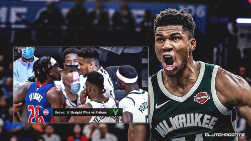 Giannis Antetokounmpo's heated moment with Isaiah Stewart after Pistons-Bucks
