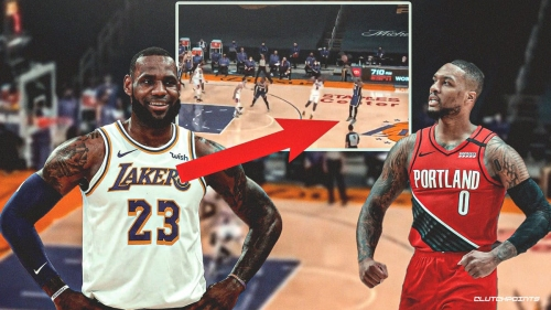 VIDEO: Lakers star LeBron James fails horribly with Damian Lillard-like logo shot in crucial moment