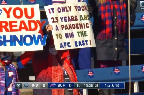 Bills fan brings A+ sign to playoff game against Colts