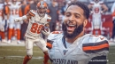 Browns WR Odell Beckham Jr. reacts to Jarvis Landry's touchdown vs. Steelers
