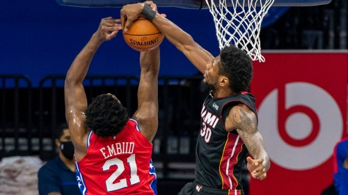 Shorthanded Heat run out of gas in Philadelphia, fall 125-108