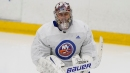 Islanders injure own goalie with high shot in warmups, then get blown out by Rangers