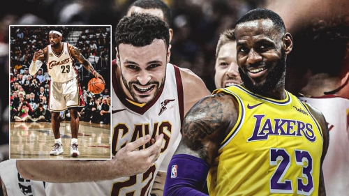 LeBron James reacts to Larry Nance Jr. rocking his sweet Cleveland throwback kicks