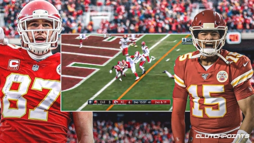 Chiefs' Travis Kelce hurdles into end zone on 20-yard TD reception from Patrick Mahomes