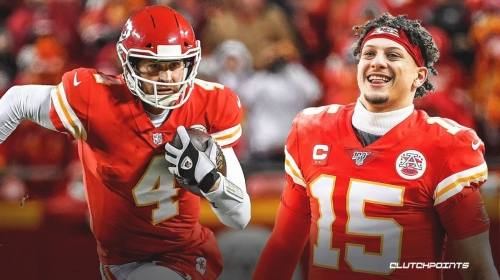 Chiefs' Patrick Mahomes reacts to Chad Henne's game-winning play vs Browns