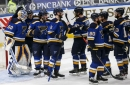 Home sweet home: Faulk scores twice as Blues rally to beat Sharks in home opener