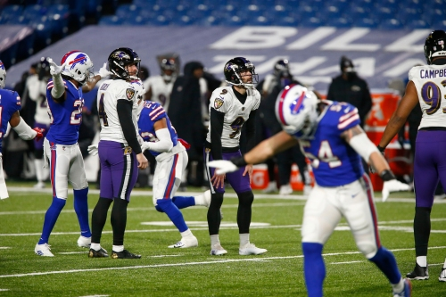 Ravens kicker Justin Tucker's first attempt in playoff loss to Bills was good — at least for split-second