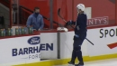 Patrik Laine leaves ice after taking a few shots in Jets practice
