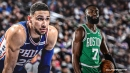 Celtics guard Jaylen Brown's savage taunt after scoring on Ben Simmons