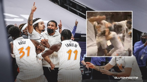 VIDEO: Cole Anthony gets drenched in locker room after game-winner