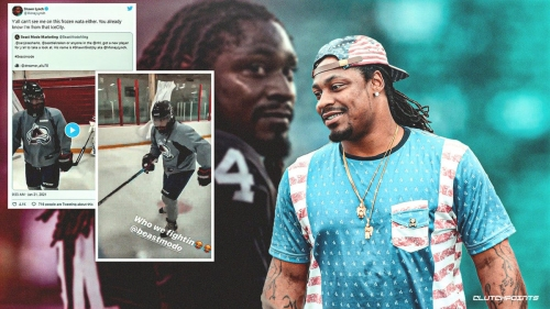 Former Seahawks RB Marshawn Lynch stretches athletic wings with hilarious hockey tryout