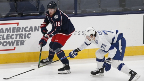 Blue Jackets bench Pierre-Luc Dubois after first period vs. Lightning