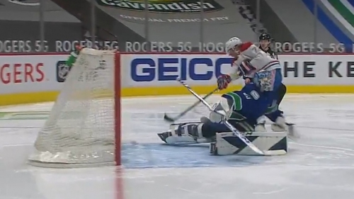 Toffoli fakes out Demko then scores shorthanded goal
