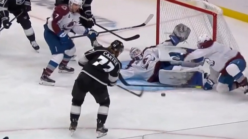 Hunter Miska lifts pad in desperation and robs Jeff Carter of a goal