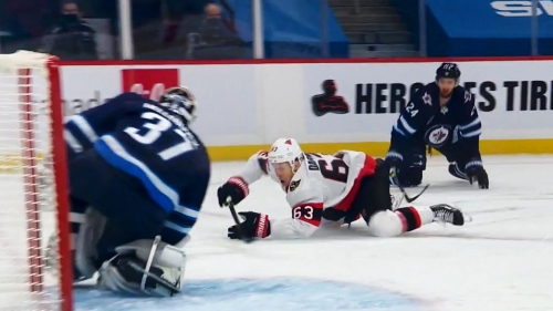 Gotta See It: Dadonov pokes puck by Hellebuyck while falling