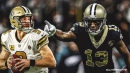 Saints WR Michael Thomas appears to take shot at Drew Brees while watching NFC Championship Game