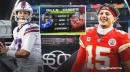 Chiefs QB Patrick Mahomes reacts to ESPN graphic that picked Josh Allen over him