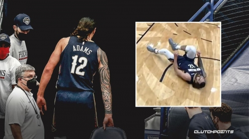 Pelicans' Steven Adams heads to the locker room after scary fall vs. Blazers