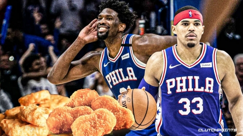 VIDEO: Joel Embiid's 50-point eruption for Sixers has Tobias Harris thinking chicken nuggets