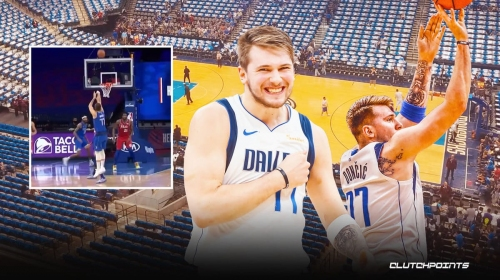 Mavs star Luka Doncic drains signature step-back three at the first-half buzzer vs. Sixers