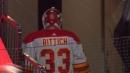 Flames goalie David Rittich headbutts door