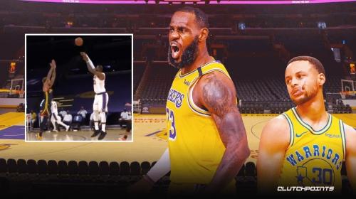 VIDEO: LeBron James beats buzzer with near-logo three to end half vs. Warriors
