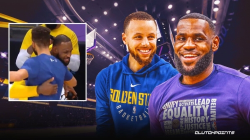 VIDEO: Lakers star LeBron James stops mid-interview to dap up Stephen Curry