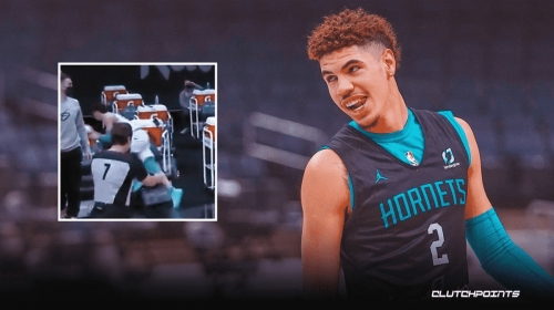 VIDEO: Hornets' LaMelo Ball takes massive sideline spill but somehow smiles through it