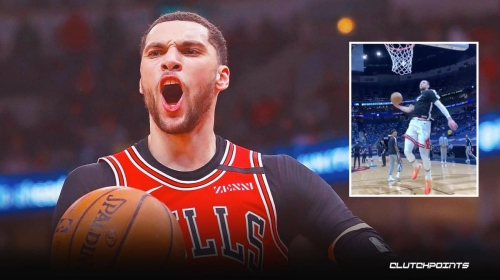 Bulls star Zach LaVine's insane pre-game dunk makes everyone feel sad he's not in the Dunk Contest