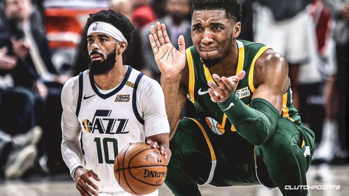 Jazz guard Donovan Mitchell reacts to Mike Conley's All-Star invite