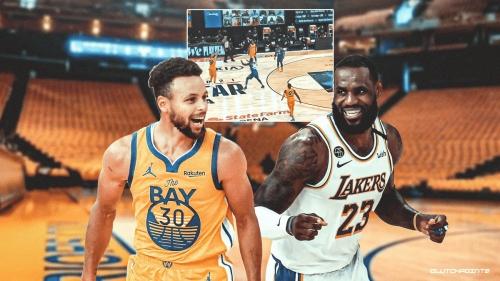 VIDEO: Stephen Curry's insane logo shot off LeBron James dish