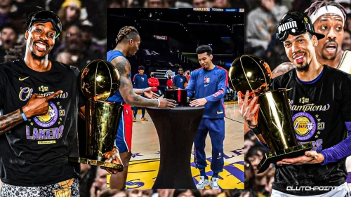 VIDEO: Dwight Howard, Danny Green finally get ring ceremony together at Staples
