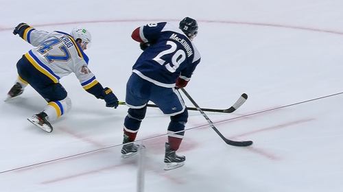 MacKinnon turns on afterburners and goes top shelf on Husso