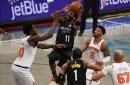 Kyrie Irving scores 40 as Nets sweep Knicks, 114-112; James Harden hurt