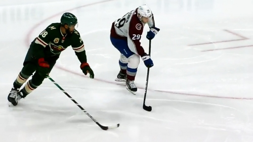 MacKinnon toe drags around defender before scoring on Wild