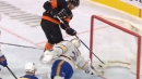 Ullmark makes incredible sprawling stick save on Couturier