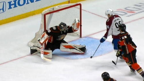 Gibson flashes the leather on MacKinnon