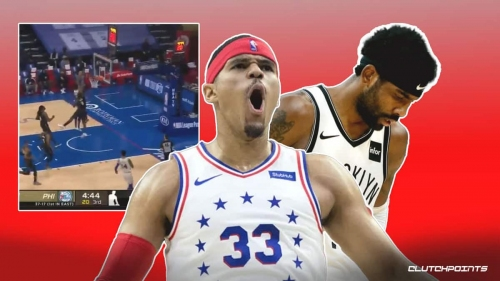 Sixers' Tobias Harris puts Nets star Kyrie Irving on a poster with massive slam
