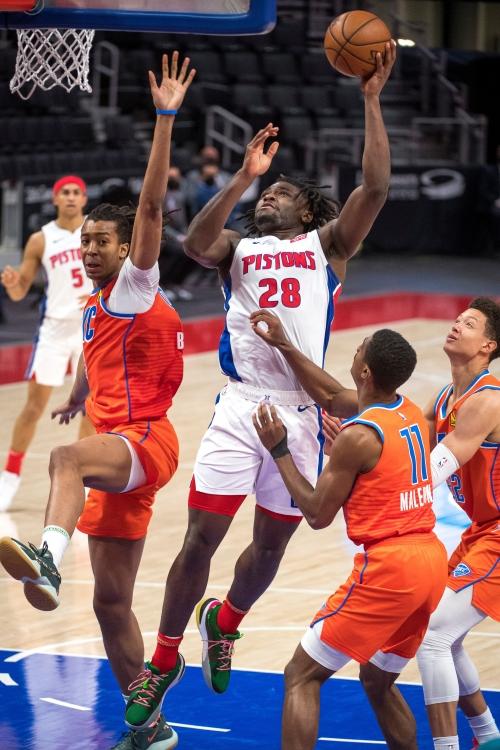 Detroit Pistons' Isaiah Stewart after his gigantic game vs. OKC Thunder