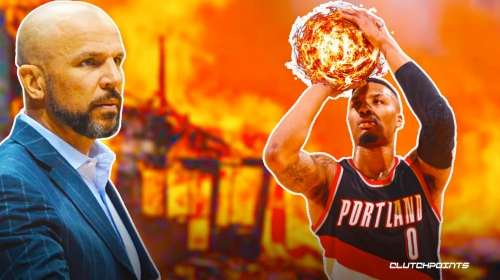 Portland's Damian Lillard reacts to Jason Kidd's message after passing him on 3-pointers list