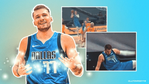 VIDEO: Luka Doncic takes tumble after hitting ridiculous shot that doesn't count